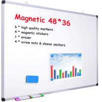 """48"""" x 36"""" Dry Erase Board, Ohuhu Magnetic Large Whiteboard/White Board with 6 Color Dry Erase Markers, 4 x Magnetic Stickers, 1 x Eraser, 4 x Screw Nuts & Sleeve Anchors, Aluminum Frame, Silver"""