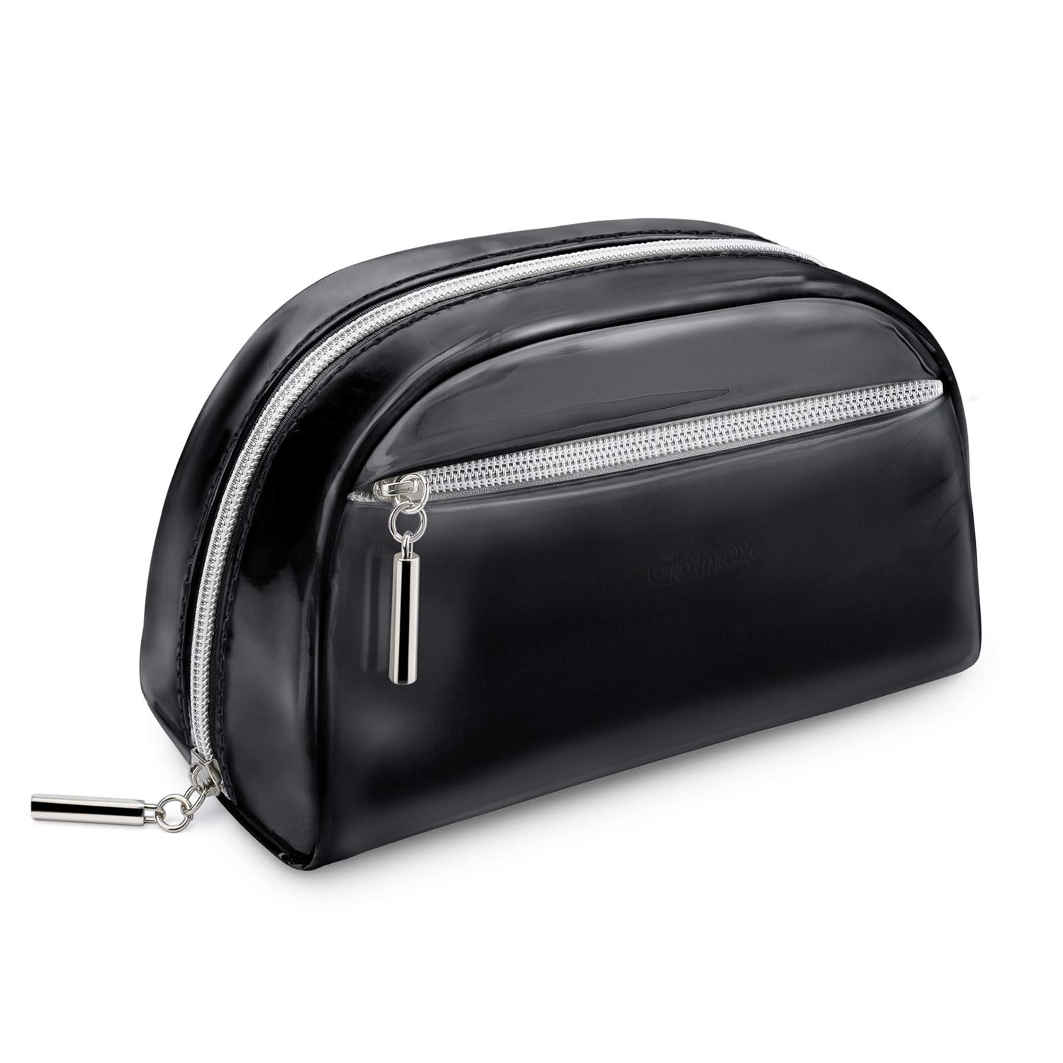 Gonex Small Makeup Bag for Purse Metallic Silver Cosmetics Bag PU Leather Travel Pouch for Women Girls Gifts Portable Water-Resistant Daily Storage Organzier, Black