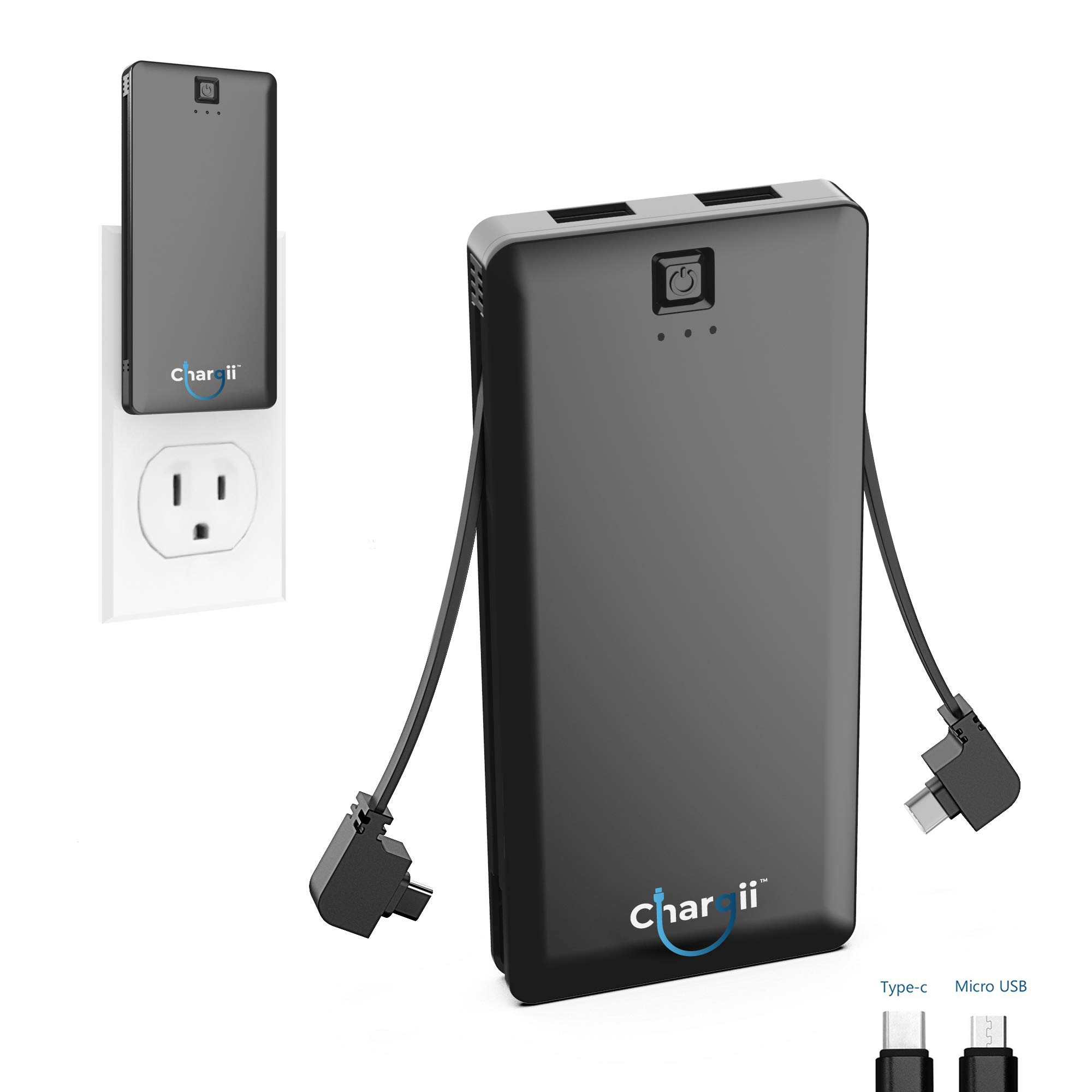 Chargii - Power Bank - All-in-One Portable Charger - Cell Phone Battery Backup - Built-in Wall Plug AC Adapter - 2 USB Ports - 5000 mAH (Black, iPhone/Android)