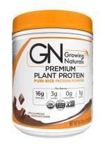 Growing Naturals   Organic Premium Plant Based Protein, Pure Rice Protein Powder   Chocolate Power   Non-GMO, Vegan, Gluten-Free, Keto Friendly, Shelf-Stable   1LB