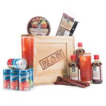 Personalized Bloody Mary Crate by Man Crates – Includes Seasonings, Tomato Juice, Pepperoni Straws, Personalized Collins Glasses – Delectable Drinking Gift For Men