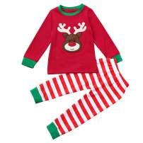 Kids Xmas Pajamas, Toddler Baby Boy Girl Deer Print Long Sleeve Shirt + Pants Christmas Outfit Clothes Set