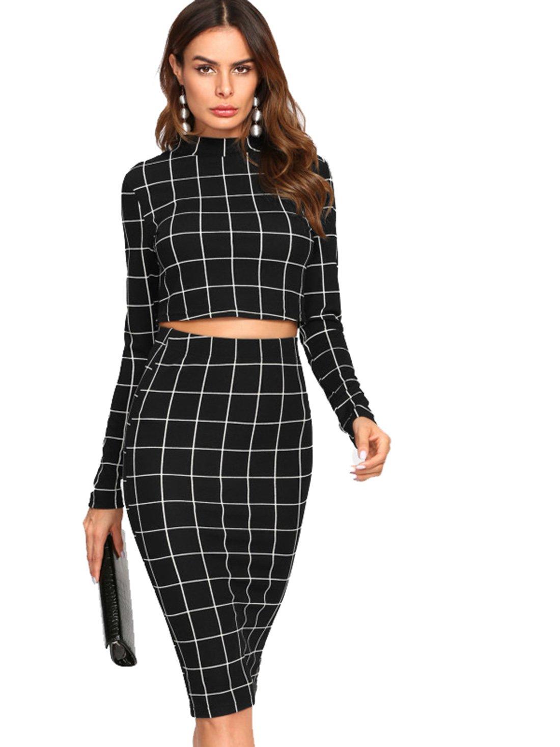 MakeMeChic Women's Long Sleeve Crop Top Bodycon Midi Skirt 2 Piece Set