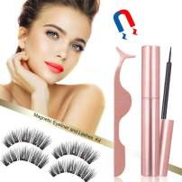 Magnetic Eyeliner and 3D Magnetic eyelash Kit | Natural Look | Waterproof and Smudge Resistant | No Glue | Easier To Use Than Traditional Magnetic Eyelashes(2 pairs)