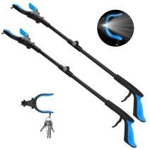 """2-Pack Grabber Reacher Tool with Light, 32"""" Extendable Pickup Trash Grabber, 90°Rotating Anti-Slip Jaw, Grabbers for Elderly, Durable Stick, Magnet Tip (Blue)"""