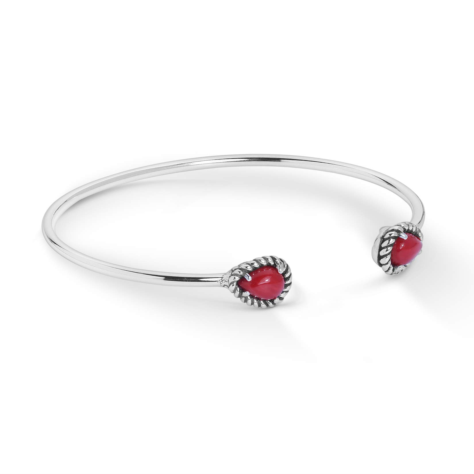 "American West Sterling Silver & Gemstone Slender Adjustable Cuff Bracelet with 1/4"" Teardrop Finials - Choice of Colors"