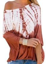 BLENCOT Women's Tie Dye Printed Off Shoulder Tops Loose Flowy Short Sleeve Blouses Shirts