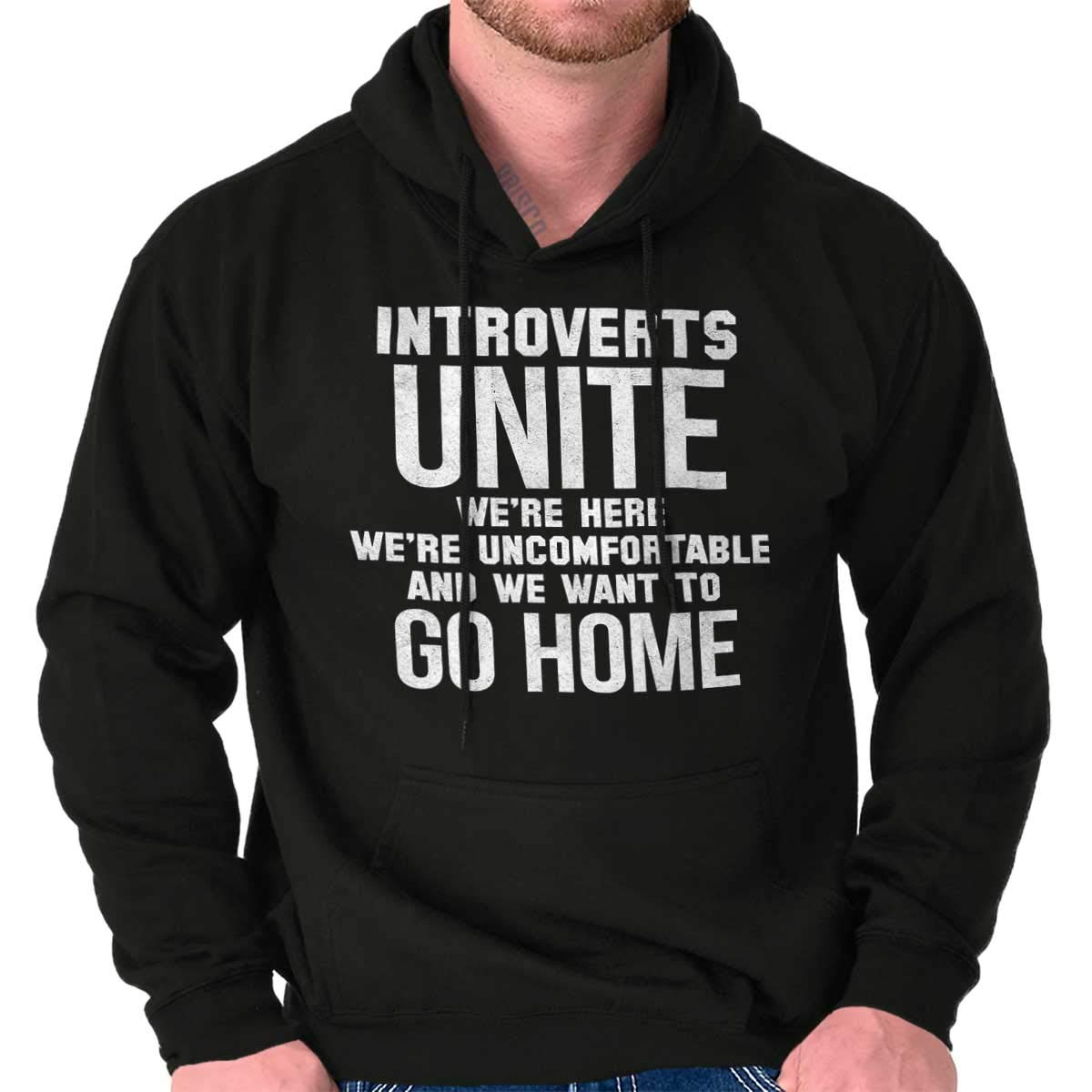 Brisco Brands Introverts Unite Here Funny Antisocial Gym Hoodie