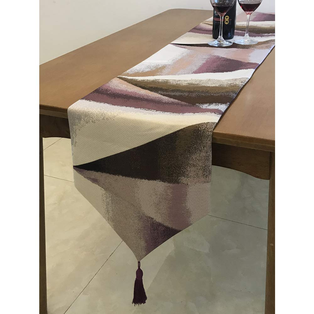 Zupro Multi-Size Elegant Tassels American Country Classic Table Runners,for Dining Table,Tea Coffee Table Dresser Shoe Box 13x87 Inches(32 x220cm),Oil Painting Geometry - Purple