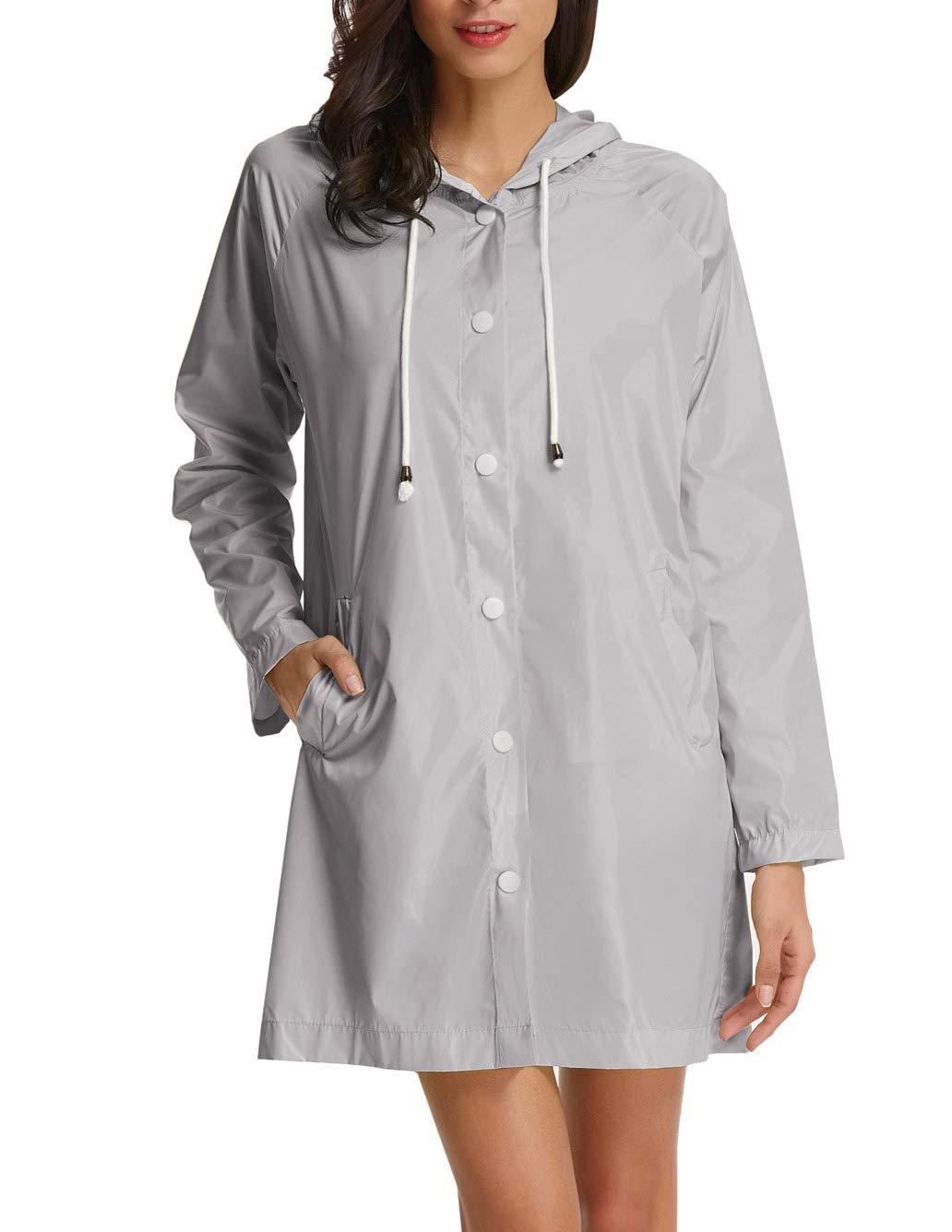 GRACE KARIN Women's Lightweight Waterproof Raincoat Jacket Active Outdoor Hooded Raincoat