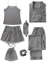 COCOHOME Womens Pajama Sets, 7pcs Silk Satin Pajama Set with Cami Pjs Shorts Sleepwear Button Down Shirt Loungewear