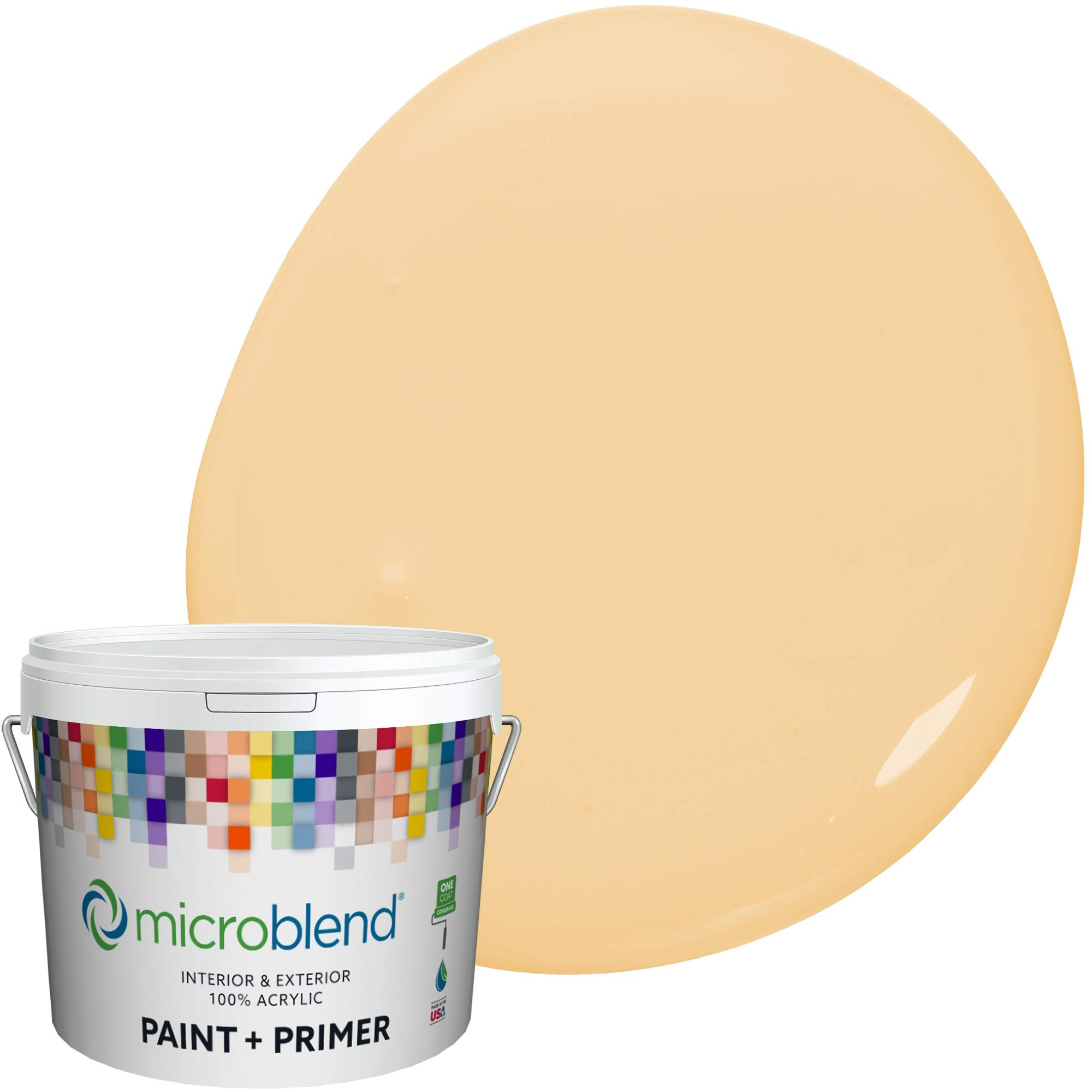 MicroBlend Interior Paint + Primer, Sundrenched Sand, Semi-Gloss Sheen, 1 Gallon, Custom Made, Premium Quality One Coat Hide & Washable Paint (73241-2-M0966B3(C))