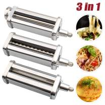 3-Piece Stainless Steel Pasta Maker & Cutter Set Attachment Compatible with KitchenAid Stand Mixers,including Pasta Sheet Roller, Spaghetti Cutter, Fettuccine Cutter
