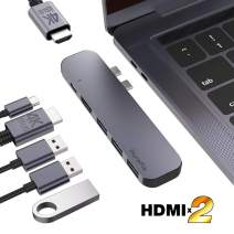"""PureFix 6 in 1 USB C Dual HDMI Hub Adapter, with Dual 4K HDMI, 60W Power Delivery Charging & 3 USB 3.0 5Gbps Data for 13"""" 15"""" 16 MacBook Pro 2016-2020 & MacBook Air 2018-2020"""