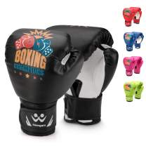 Newgam Kids Boxing Gloves, Children Junior Sparring Kickboxing Training Gloves,Junior Punch Bag MMA Training Muay Thai Mitts - PU Leather - 5oz for 3 to 14 YR