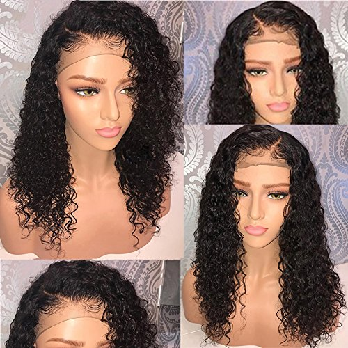 360 Lace Frontal Human Hair Wigs Wet Wavy 150% Density for Women Natural Black Brazilian Remy Hair Curly Glueless Top Lace Wigs Pre Plucked with Baby Hair (18 inch with 150% density)