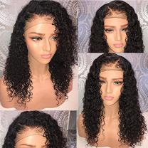 360 Lace Frontal Human Hair Wigs Wet Wavy 150% Density for Women Natural Black Brazilian Remy Hair Curly Glueless Top Lace Wigs Pre Plucked with Baby Hair (10 inch with 150% density)