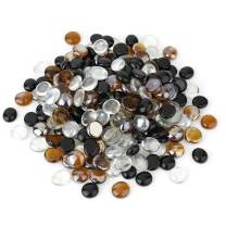 Stanbroil 10-Pound 1/2 Fire Glass Drops Blend Onyx Black, Crystal Ice, Caramel Reflective for Indoor and Outdoor Gas Fire Pits and Fireplaces