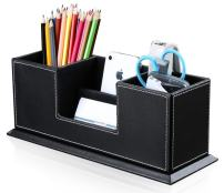KINGFOM Office Supplies Desk Organizer PU Leather Storage Box 4 Divided Compartments for Pen Business Card Remote Control Mobile Phone Cosmetics Collection Holder (Black)