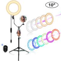 """EEIEER 10"""" RGB Ring Lights with Stand, Mini LED Camera Circle Light, Makeup Flash Light with Cell Phone Holder Desktop Ring Lights kit for Live Stream/Makeup/Video/Photography (Black, 10 inch)"""