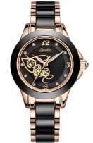 SUNKTA Womens Watches Waterproof Analogue Quartz Luxury Rose Gold Ceramics Wrist Watch Ladies Girls Fashion Elegant Casual Dress Watch Slim Simple Business Black Clock