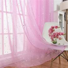 """WUBODTI Semi Sheer Voile Tulle Window Curtains Set of 2 Panels Starry Pink Gauze Rod Pocket Window Treatments Drapes and Curtains for Kids Girls Bedroom Living Room, 39"""" W x 63"""" L"""