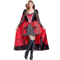PROTAURI Women Drama Costume Vampire - Queen Witch Fancy Dress with Cloak Cosplay Cozy Black Ghost Zombie Party Outfits