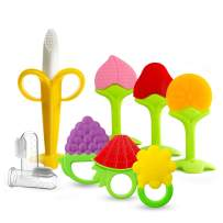 9 Pack Baby-Teething-Toys-Finger-Toothbrushes, Silicone Organic Teethers Plus Finger Toothbrushes for Babies,Infants and Toddlers (7 Baby Teethers+ 2 Finger Toothbrushes)