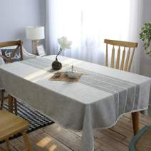"""Leadtimes Linen Lace Tablecloth 36 x 55 Inch Grey Table Cover for Kitchen Dining Striped Sitiching Tabletop Decorative (Gray, 36"""" x 55"""")"""