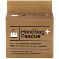 HandBagRescue All-Natural Cleaning Wipe for Leather Handbags. Removes Dirt, Grime and Surface Stains. Box of 10 Individually Wrapped Wipes.