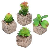 Luyue 4 Pack Artificial Succulents Plants in Pot Fake Potted Mini Succulent Faux Green Planter Decor (Stone Clay Pots4Pack)