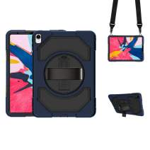 GROLEOA iPad Pro 11 Case, Leather Hand Starp & Adjustable Shoulder Strap iPad Pro Case with 360 Degree Swivel Stand, 3 in 1 Shockproof iPad Pro 11 Case 2018 A1934 A1980 A2013 A1979 (Black+Navy Blue)
