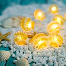 Onemore Ocean Theme Fairy String Light, Small Faint Yellow Shell Battery-Operated 10FT 30 LEDs Christmas Decorations Room Lights for Girl Bedroom, Party, Porch, Centerpiece, Fence, Headboard Decor