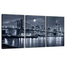 "LevvArts - 3 Panels Brooklyn Bridge Canvas Wall Art,Moon Night New York City Scene Picture Print on Canvas,Framed Gallery Wrapped,Modern Home and Office Decoration- 48"" W x 24"" H Overall"