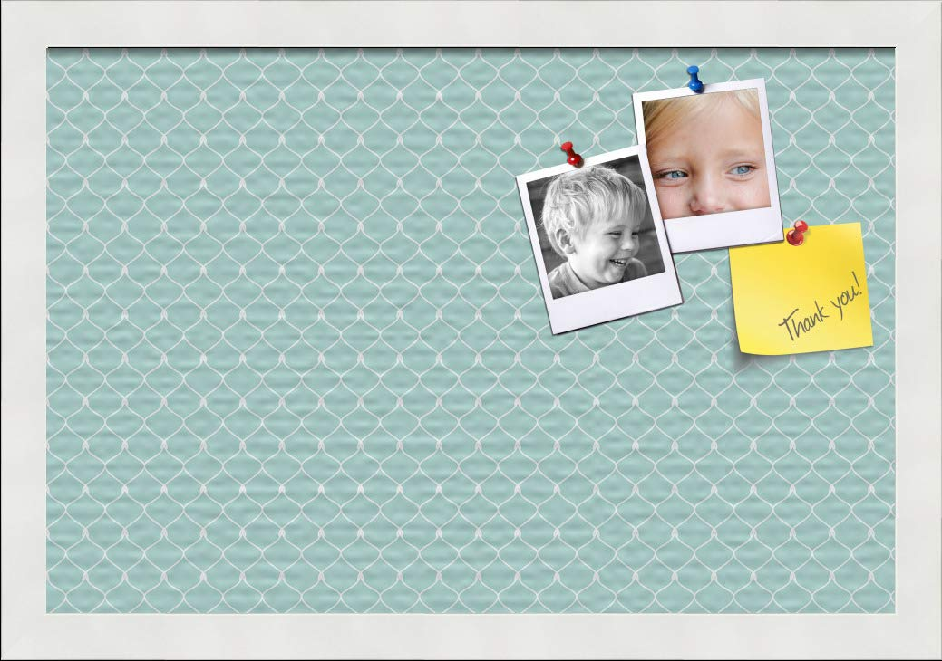 PinPix ArtToFrames 18x12 Custom Cork Bulletin Board. This Chain Pattern in Baby Blue Pin Board Has a Fabric Style Canvas Finish, Framed in Satin White (PinPix-571-18x12_FRBW26074)