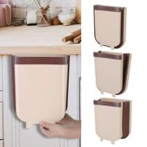 Wallfire Folding Waste Bin Creative Wall Mounted Waste Bin Small Foldable Hanging Trash Can for Kitchen Cabinet Bathroom Car (Coffee 9L)