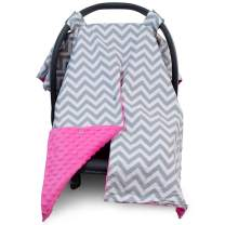 2 in 1 Carseat Canopy and Nursing Cover Up with Peekaboo Opening | Large Infant Car Seat Canopy for Girl or Boy | Best Baby Shower Gift for Breastfeeding Moms | Chevron Pattern with Hot Pink Minky