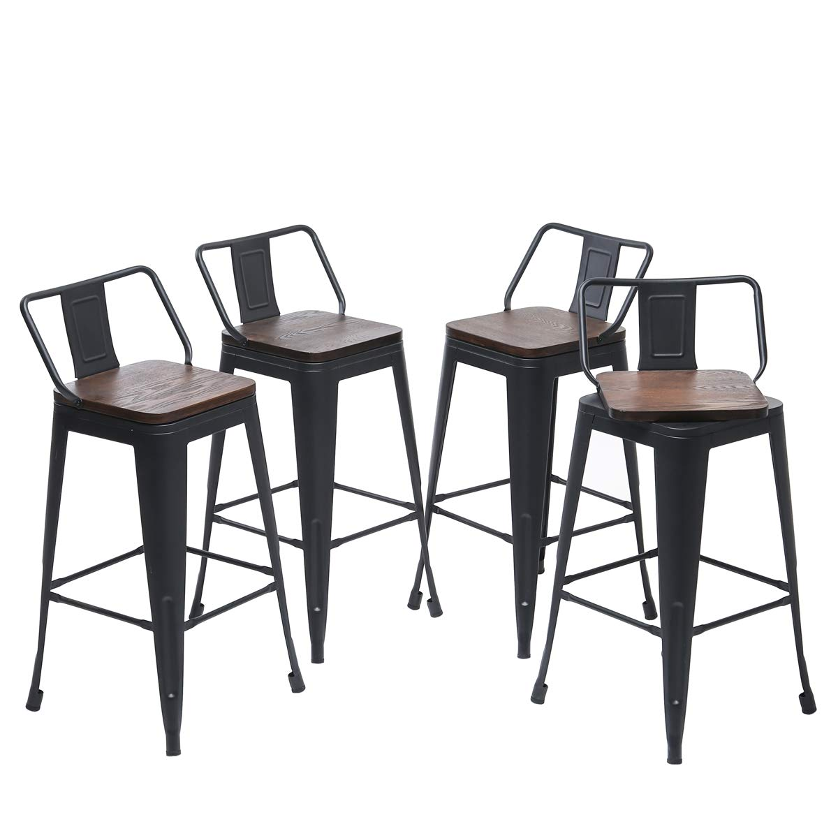 Yongqiang Set of 4 Swivel Metal Bar stools 30 inch Kitchen Counter Stool Industrial Dining Chair Stools with Wooden Seat Matte Black