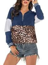 Lynwitkui Women's Hoodies 1/4 Zip Up Leopard Hooded Sweatshirts With Pocket
