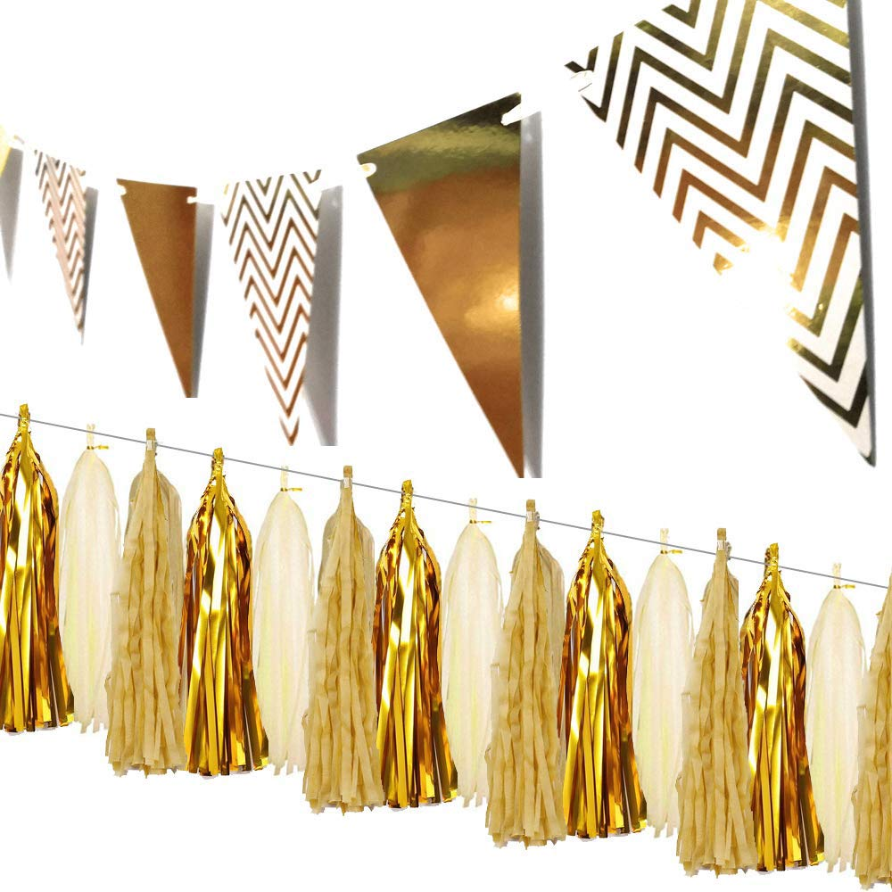 Sparkling Gold Party Decorations Paper Pennant Banner Triangle Flags and Tissue Tassels Garland for Birthday Wedding Engagement Bridal Shower Baby Shower Bachelorette Graduation Holiday Celebration -8.2ft