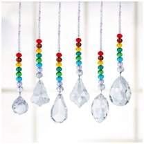 H&D Crystal Ball Prism Rainbow Chakra with Color Round Beads Hanging Ornament,Pack of 6