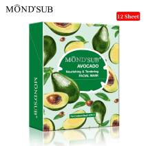 [12 P]Avocado Oil Facial Masks-Best Sheet Mask For Dry Skin-Deeply Nourishing&Moisturizing- Make Skin Soft&Clear-Every Skin Condition Day to Day Skin Concerns-Both Men&Women By MOND'SUB