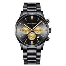 CRRJU Men's Multifunctional Chronograph Wristwatches,Stainsteel Steel Band Fashion Quartzuartz Waterproof Watch
