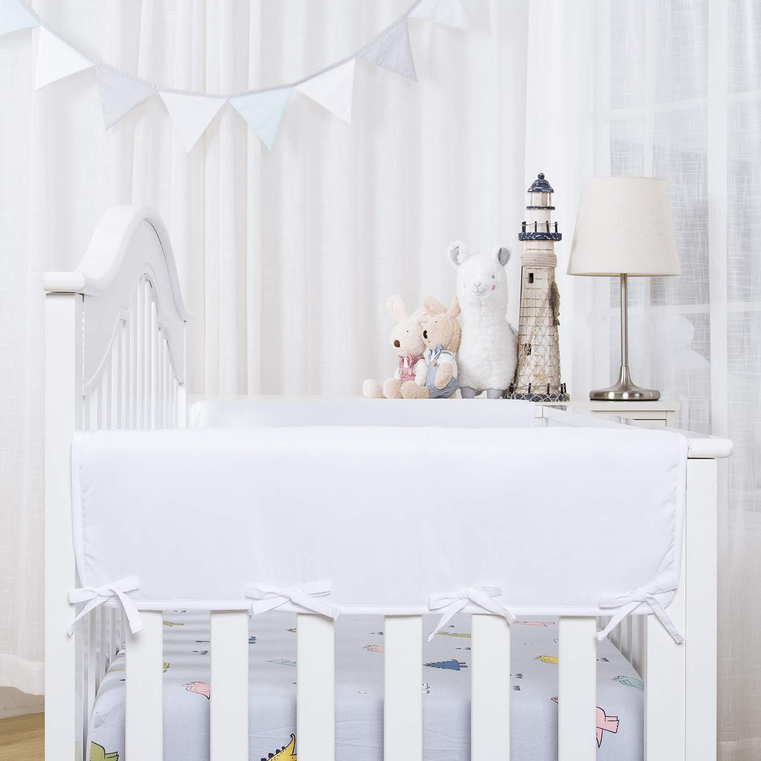 """TILLYOU 2-Pack Padded Baby Crib Rail Cover Protector Safe Teething Guard Wrap for Thick Side Crib Rails(Measuring Up to 18"""" Around), 100% Silky Soft Microfiber Polyester, Reversible, White"""