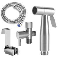HOXIYA Easy to Install Handheld Baby Cloth Diaper Sprayer,Hand Held Bidet Sprayer for Toilet,Pet Sprayer with Brushed Nickel Stainless Steel Finish and Complete Accessories