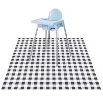"""CLCROBD Baby Splat Floor Mat for Under High Chair/Arts/Crafts, 51"""" Waterproof Anti-Slip Food Splash Spill Mess Mat, Washable Carpet Protector Mat and Table Cloth (Plaid)"""