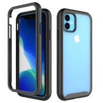 Co-Goldguard Phone Case for iPhone 11 Armor Heavy Duty Full Protection Built-in Screen Protector Rugged Cover Dust-Proof Shockproof Scratch-Resistant Shell for iPhone 11 6.1 inch 2019 Black&Clear