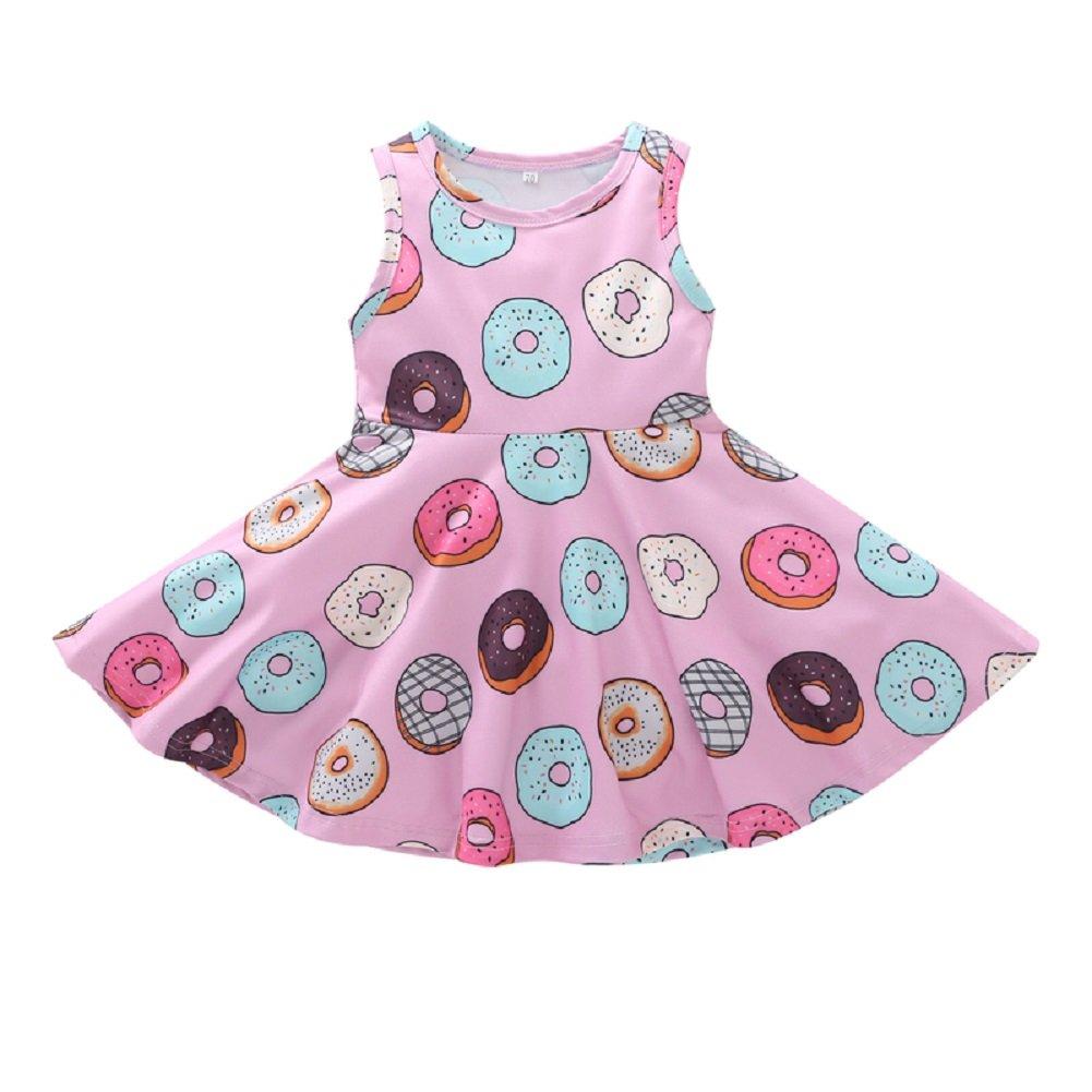 MOLYHUA Donut Dress, Toddler Girls Doughnut Print One-Piece Skirt Sleeveless Dress Pink