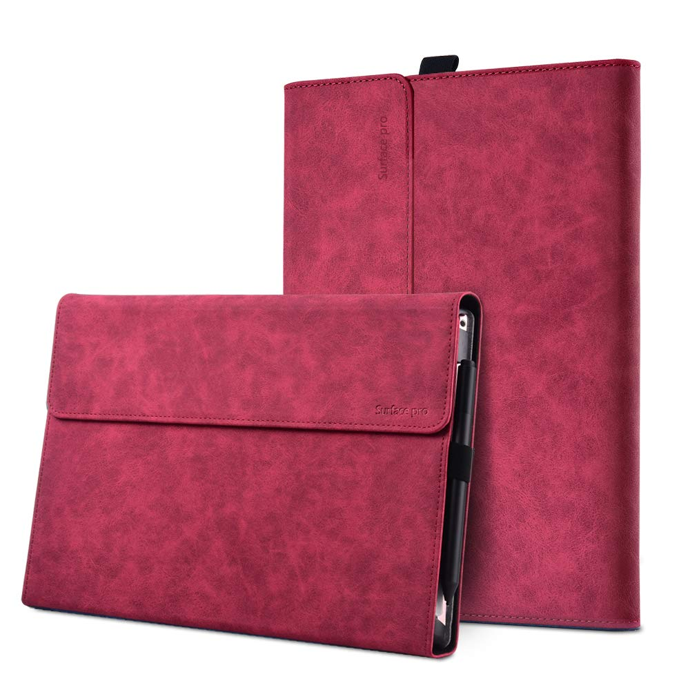 """XISICIAO Protective case for Surface Pro 6 / Pro 5 / Pro 4 with Pen Holder,Multiple Angle Polyester Slim Light Shell Cover,Compatible with Type Cover Keyboard. (12.3"""", Rose)"""