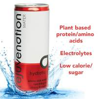 Rejuvenation Water Recovery Hydration Drink - Sparkling Water, Natural Fruit Juices, Hydrating Electrolytes & Plant based Amino Acids - Vegan, Low Calorie, Low Sugar - Cherry & Cranberry 12 x 8.4fl oz